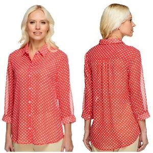 Susan Graver Sheer Button Front 3/4 Sleeve Shirt